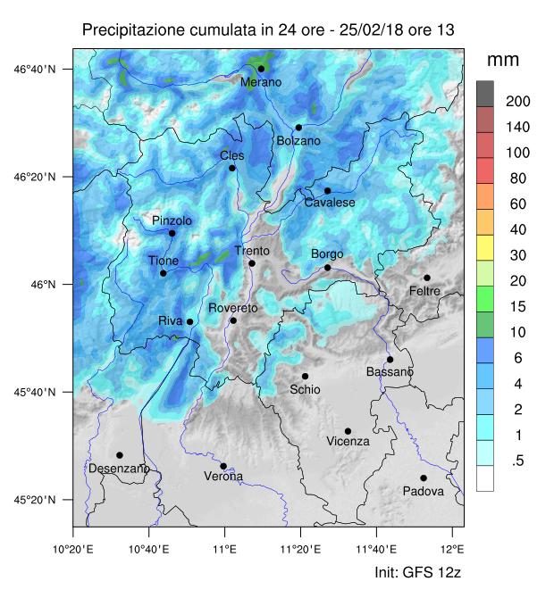 Mappa precipitazioni previste entro domenica alle 13